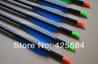 12pcs Hunting Arrow fiberglass oractice target steel point broadhead with vane and nock