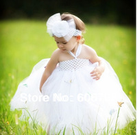 2014  Boutique White Flower Headband With White children Tutus Dress For Girls Wedding/Birthday Party/Photo Tutu Long Dress