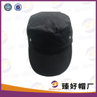 metal eyelet side black color 100% cotton flat top leisure casual hat  military cap