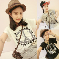 2014 spring women's top all-match young girl honey fresh summer short-sleeve t-shirt female