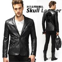 2014 Milan skull diamond imports sheepskin leather men's Slim leather motorcycle leather suit 971