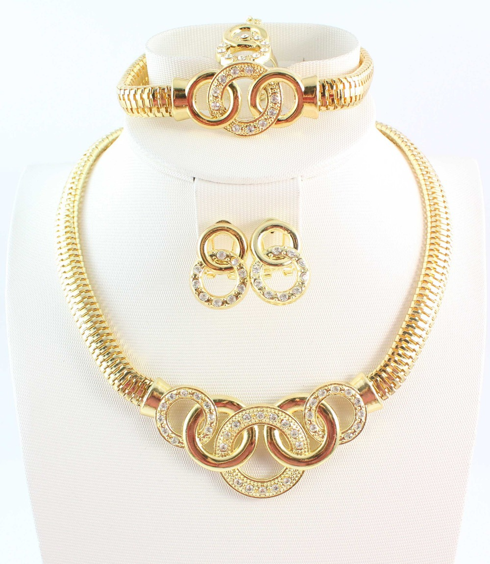 Free Shipping 18k Gold Plated Chunky Fashion Jewelry ,African Costume Jewelry Set Necklace Fashion For Women(China (Mainland))