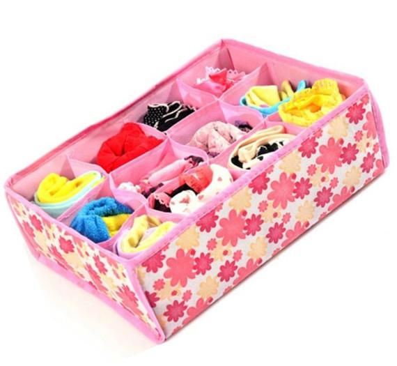 Russia free shipping Hot Sale Folding 12 Grid Storage Box For Bra,Underwear,Socks 31*23*11CM(China (Mainland))