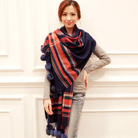Ultralarge spring check rex rabbit hair ball tassel thick thermal scarf air conditioning cape dual