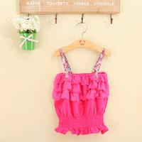 Free shipping 5 /lot Fashion Summer Girls Clothing  Ruffles Girl Halter Top  Kids wear