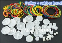 40PCS Pulley + weighs about 20g rubber band / plastic pulley robot model toy car accessories diy small pulley Value