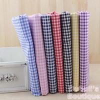 Plaid Print 7 Assorted Color Pre-Cut Charm Cotton Quilt Fabric Fat Quarter Tissue Bundle Best Match Sewing Textile Cloth 50x50cm