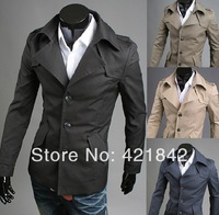 2014 Men's Outwear Fashion Mens Slim turn down Jacket Collar Coats fashion casual Jackets clothes 4 Colors Size:M-XXL