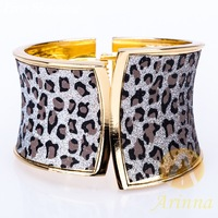 [Arinna Jewelry] 18K Gold Plated New 2014 European Popular Punk Style Grey Leopard Spot Enamel Bracelets & Bangles B1880#5