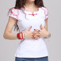 Women's t-shirt short-sleeve female 2014 national embroidery trend slim akkadian summer short-sleeve top