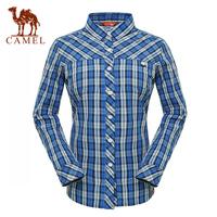 Camel outdoor Women casual shirt long-sleeve casual stand collar stripe shirt a4s1z6006