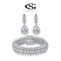 G&S swiss CZ gifts Platinum plating luxury flowers queen earrings+bracelet jewelry arrow heart cuting107048
