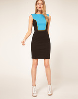 European and American Style Sky Blue Color matching Sleeveless Dress Women Autumn Winter Bodycon