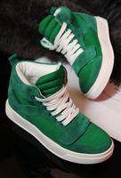 24 fashion genuine leather nubuck cowhide patchwork canvas platform casual shoes high-top shoes women's shoes