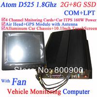 Smart Car Trip Computer PC ATOM D525 Four channel Monitoring card with 10-inch touch screen 2G RAM 8G SSD Air Head GPS module