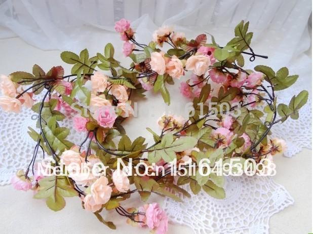 6 pcs Wedding Rose Rattan decorative flowers Hanging Artificial Ivy Vine Silk Rose Flower Garland 4 colors, free shipping(China (Mainland))