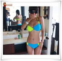 Free Shipping Beauty Women Favor Padded  Bikini set Sexy Swimsuit Top and Bottoms Swimwear M,L,XL size Moq 1pc do dropshipping