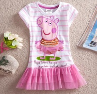 new arrival girl summer Peppa pig 2014 kids 100% cotton child princess dress girls casual pink tutu clothing dresses