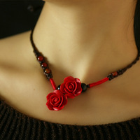 National trend fashion red agate carved lacquer 38800685 rose gift necklace short design chain accessories female