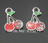 50pcs cherry  Hang Pendant Charm Fit Diy Phone Strips Wristband & Necklace