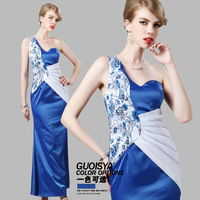 Guoisya 2014 cheongsam formal dress one shoulder blue slim banquet dress long Qipao