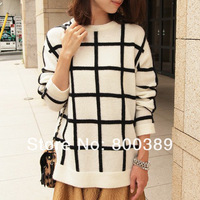Fashion Women Vintage Loose Black and White Checkered Sweater Round Neck Long Sleeve Lady's Casual Pullovers Free Shipping