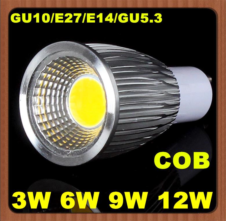 Ad alta potenza 10x 3w 6w 9w 12w gu10/e27/gu5.3/e14 pannocchia 110v/220v/230V/240v ha condotto la luce spot faretto lampadina ce rohs saa