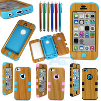 Light Wood Grain Cover Hybrid Impact for Apple iPhone 5C Case + Pen A169