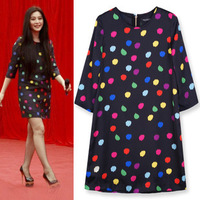 European and American Fashion O-neck Half Sleeve Polka Dot  Dress Women Chiffon Dresses Black Loose