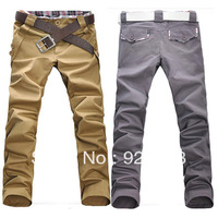 Fee shipping 2013 new Korean men's slim lattice stitch pants, men's straight Trousers,Men's casual pants 10 colors W297