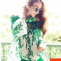 New Fashion women shirt 2014 Spring Summer European Style lady Long Sleeve blouse Lace Patchwork chiffon High Quality