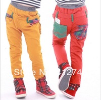 2014 new 1 pc retail kid's clothing cotton casual BOY pants boy's trousers Yellow & Red colors 2 year - 7 year age