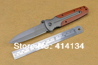 DA59 Ti finish 3Cr13Mov steel blade pocket knife spring assisted opening folding utility cutting knife-steel+rosewood  handle