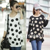 2014 Fashion new women tshirt plus size women clothing modal dot printed top for lady long-sleeve casual t-shirt white,black 766