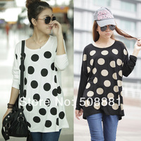 2015 Fashion new women tshirt plus size women clothing modal dot printed top for lady long-sleeve casual t-shirt white,black 766