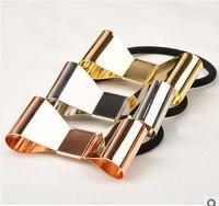 Delicate DIY Retail Metallic Bowknot Hair Band Elastic Hair Ring Headwear Hair Jewelry 12pcs/lot