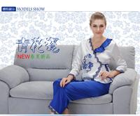 Free shipping/Drop shipping  hot sale Women's  stylish and elegance silky satin  pajama /sleepwear /nightgown 14003