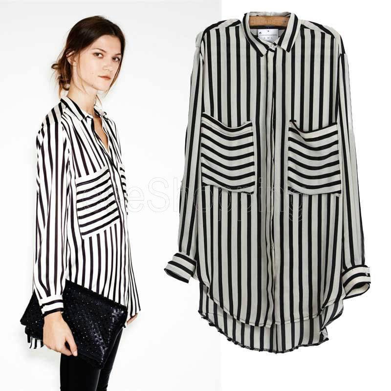 Black And White Striped Womens Shirt