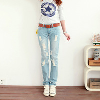 2014 new fashion female spring casual  female jeans with holes slim pencil pants destroyed jeans for women size  26-32 HK002