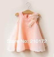 2014 The new south Korean baby summer Girls fairy pearl flower princess dress chiffon veil dress