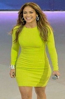 Newest Top Quality Celebrity Ladies Lime Green Long Sleeve Bodycon Dress Party Prom Dress autumn dress winter dress