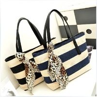 Navy stripe shoulder bag 2014 women's handbag casual canvas handbag