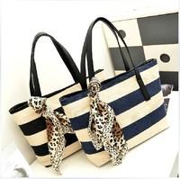 Navy stripe shoulder bag 2014 women's handbag casual canvas handbag #2077