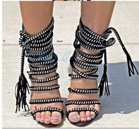 2014 Free Shipping High Quality Women Summer Sandals Cross Chain Thin Heel Dress Shoes