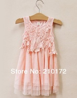 2014 Summer dress new South Korea style small partysu and lace veil girl's dress