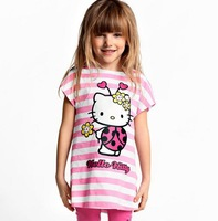 Retail New 2014 Baby Girls Cartoon Hello Kitty Suits Children Clothing Sets 2Pcs Girl's Tshirts+Pants Girls Cotton Sets