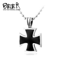 Wholesale High quality Jewelry Black WW2 Iron Cross Necklace Pendant Black Jewelry For Man Free shipment BP1138