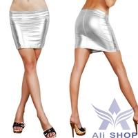4pcs/lot Cheap 2014 Summer Women Fashion Popular Shin Fashion Skirts Womens Faux Leather Bag Hip Mini Skirt Gold Silver 20187