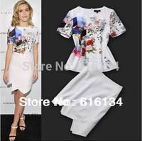 Hot!New Designer Fashion Summer Women Short Sleeve Flower Print Tee Shirt Cotton Tops+Irregular Skirt( 1Set) Tee Skirt Suits