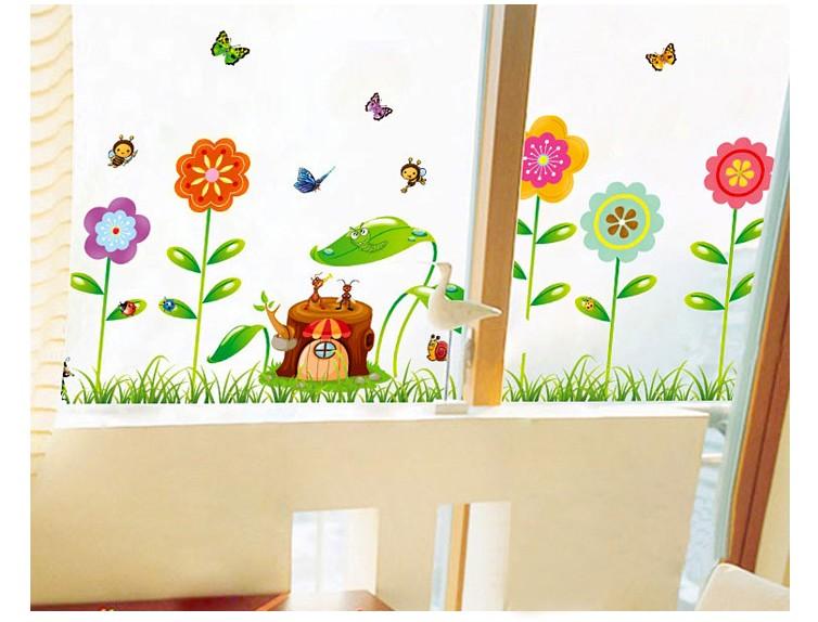 Flower butterfly mirror wall stickers diy kitchen kids - Poster decoratif mural ...